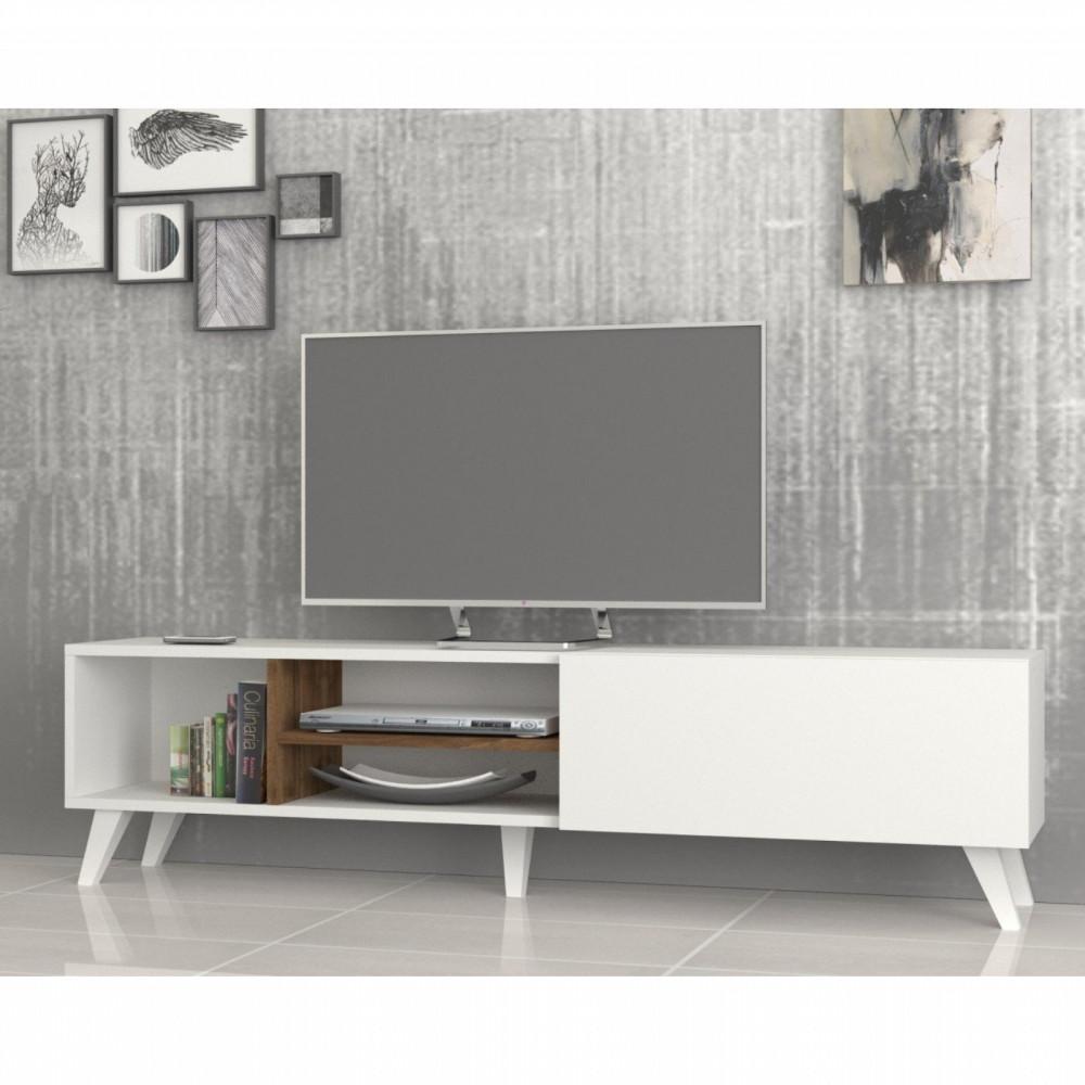 تجارة بلا حدود طاولة تلفاز خشبية لون أبيض وبني مزودة برفوف للتخزين
