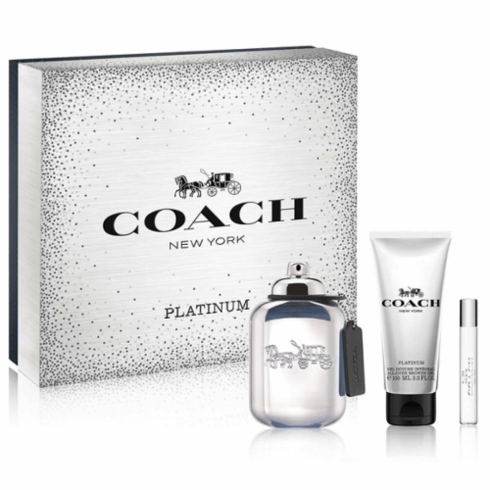 Coach New York Platinum for Men Eau de Parfum 100ml 3 Gift Set خبير ال