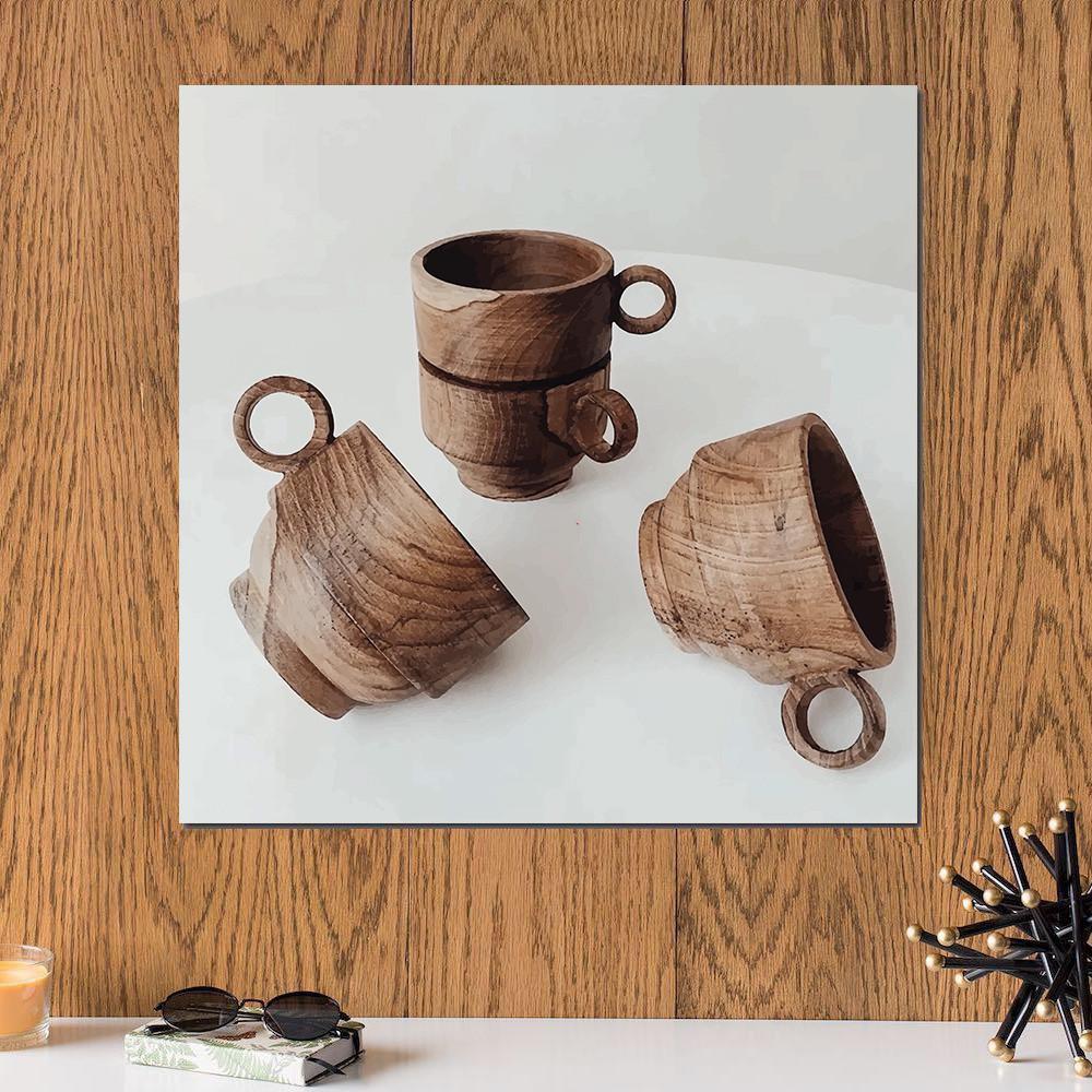 لوحة فناجين خشبية خشب ام دي اف مقاس 30x30 سنتيمتر