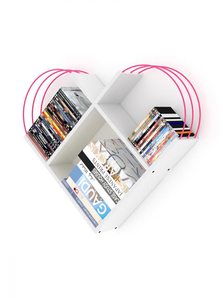 أفخم مكتبات الكتب خزانة كتب صغيرة لون أبيض بقضبان زهرية شكل عصري أنيق