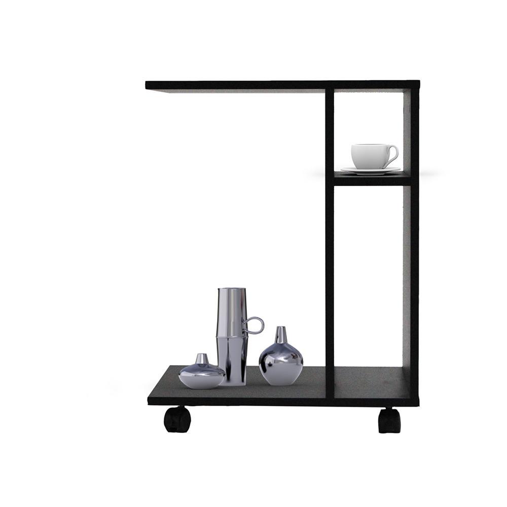 صورة أوضح طاولة جانبية متحركة موديل ديبارو خشب أسود بوحدات تخزين وأرفف