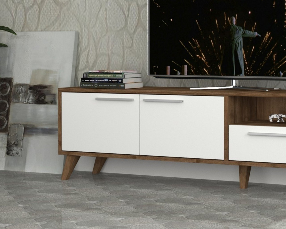 مواسم طاولة تلفاز خشبية بوحدات تخزين بتصميم جذاب يتناسب مع الموضة