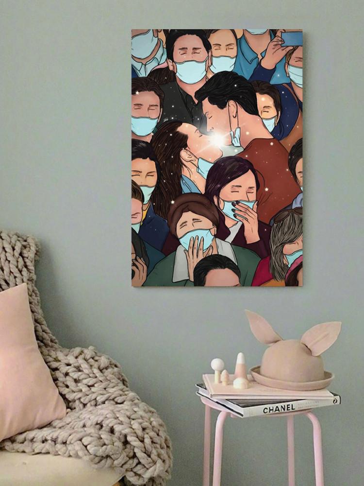 لوحة الحب في زمن كورونا خشب ام دي اف مقاس 40x60 سنتيمتر