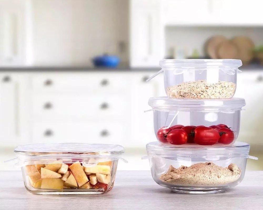 طقم أغطية طعام 6 قطع من السيليكون قابلة لإعادة الإستخدام بتصميم عملي