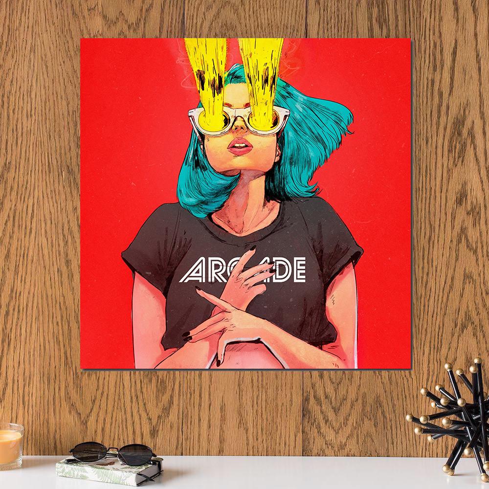 لوحة فتاة كول خشب ام دي اف مقاس 30x30 سنتيمتر