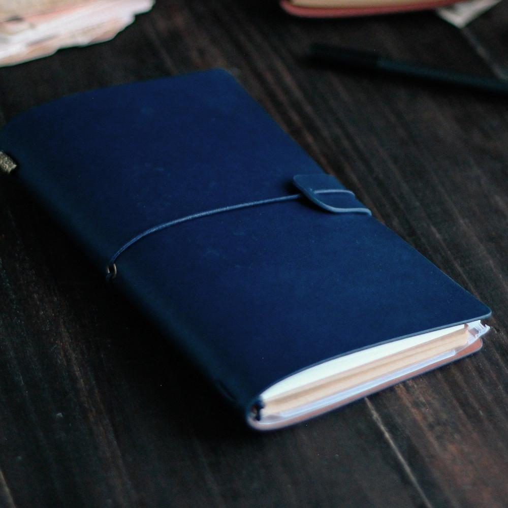 هدية دفتر جلد لون كحلي أزرق دفاتر الملاحظات كراسة كشكول دفتر هدايا