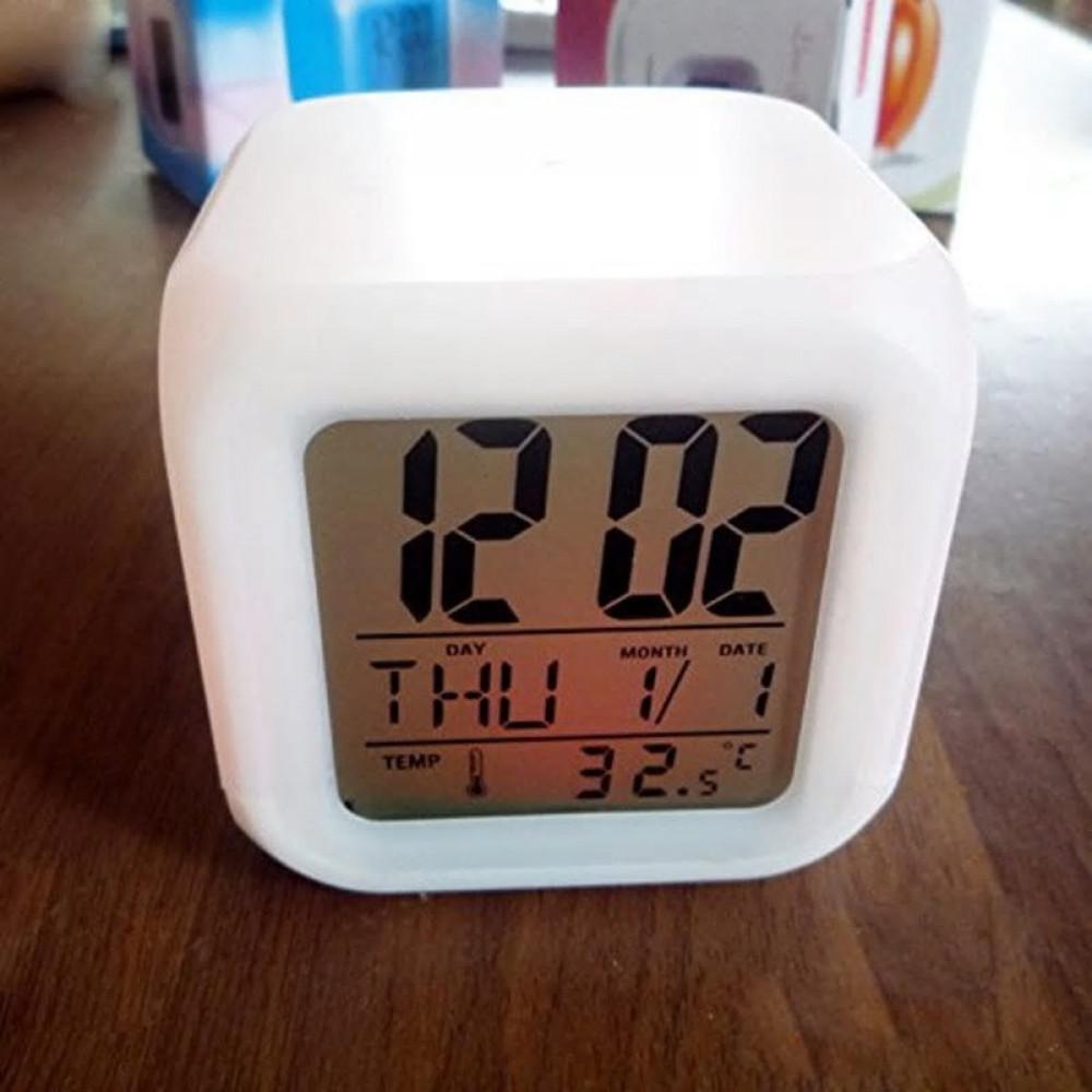 ساعة من البلاستيك متعددة الالوان رقمي مع منبه وقياس درجة الحرارة
