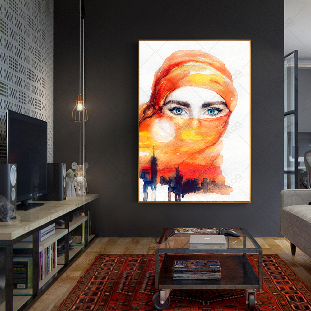 لوحة فن تجريدي امراة منقبة مختلطة بمدينة