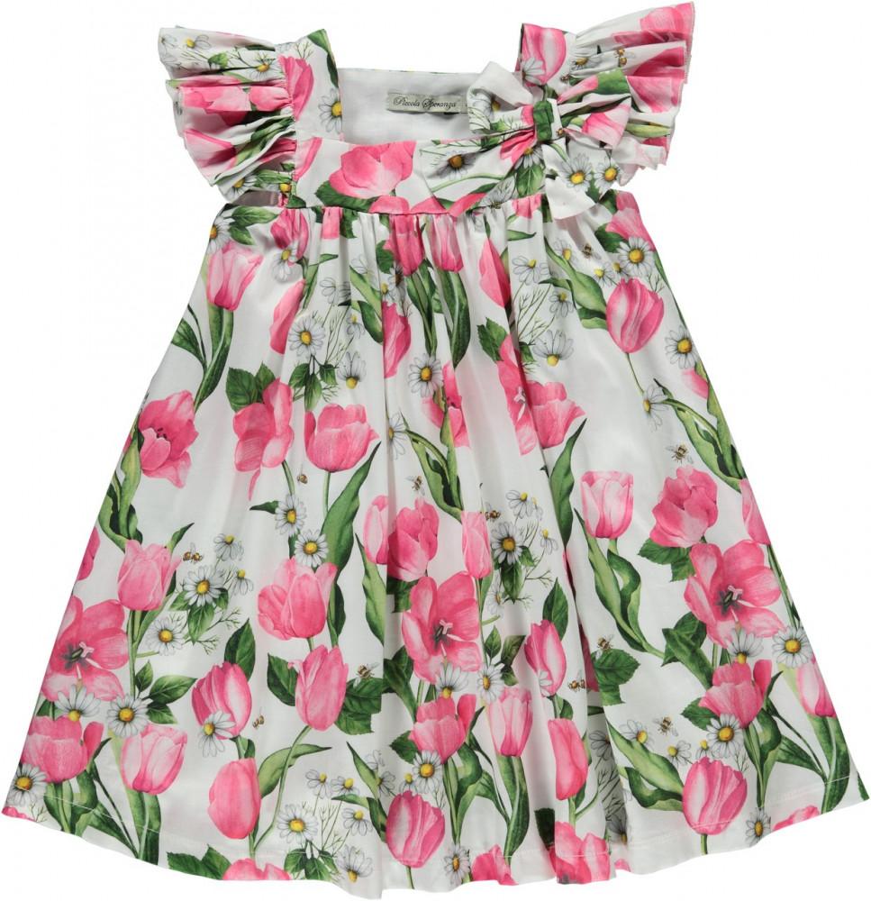 فستان انيق مزين بالازهار باللون الوردي من Piccola Speranza من دوها
