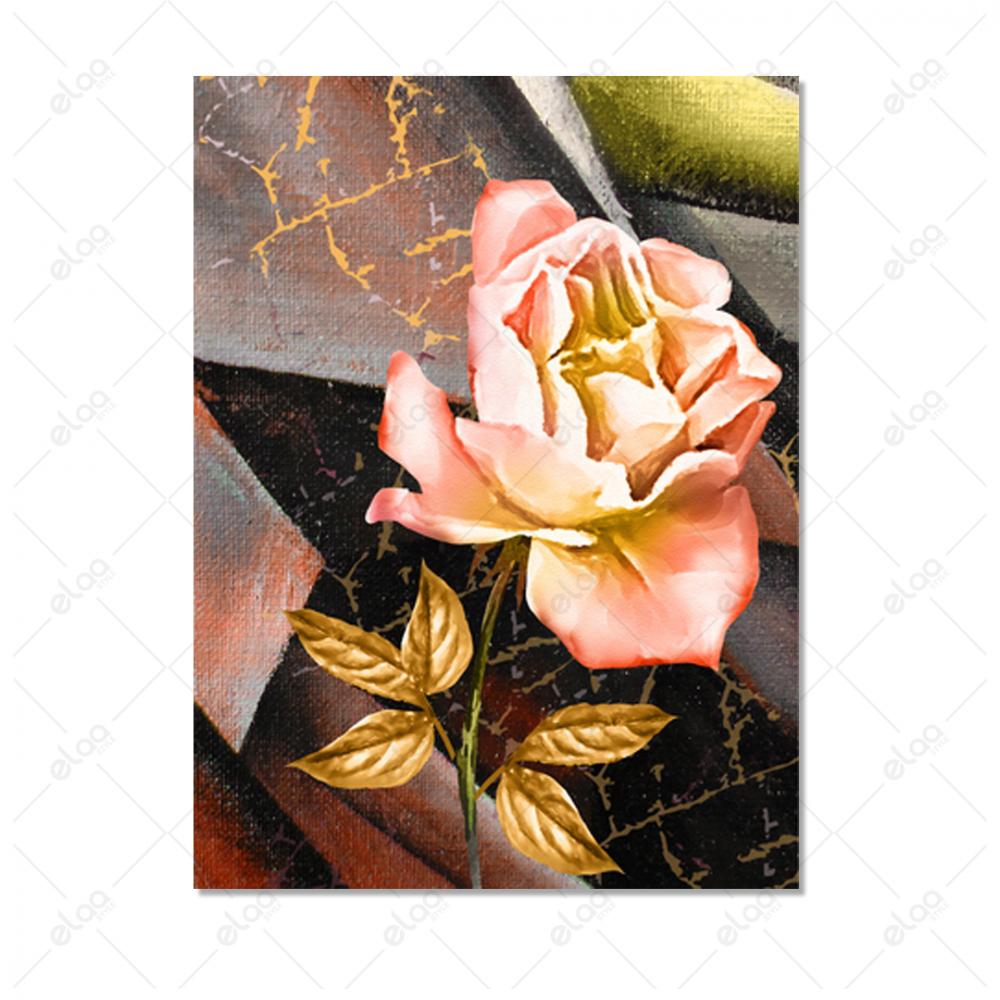 لوحة فن تجريدي وردة واوراق ذهبية ومجموعة الوان