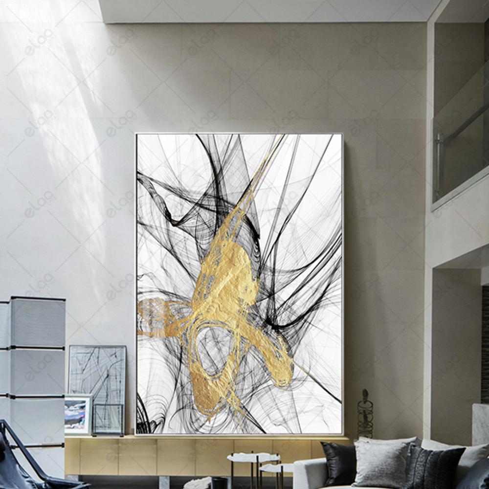 لوحة فن تجريدي بدرجات اللون الذهبي والاسود والابيض
