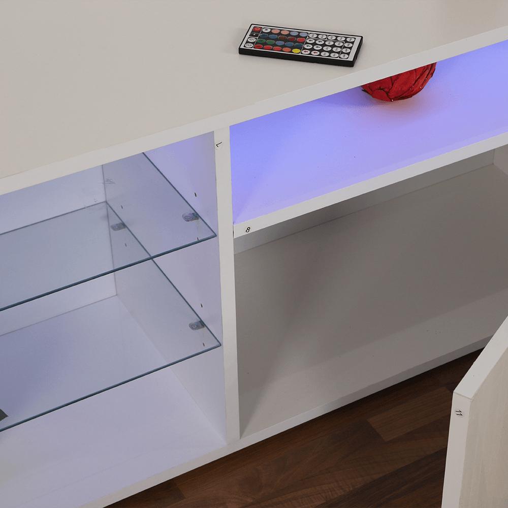 طاولة تلفاز خشبية بثلاث رفوف وخزانتين متعددة الاستخدامات من مواسم