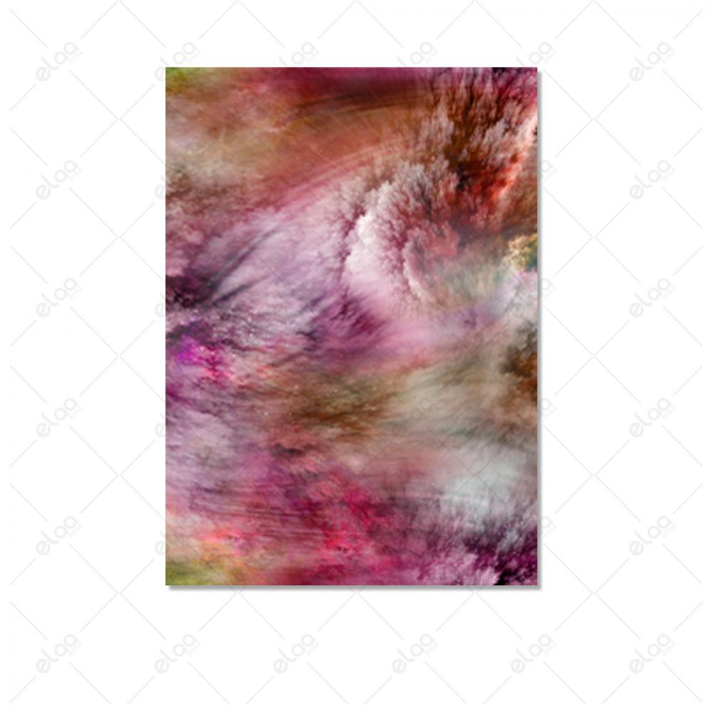لوحة فن تجريدي دخان بخليط من درجات اللون الوردي