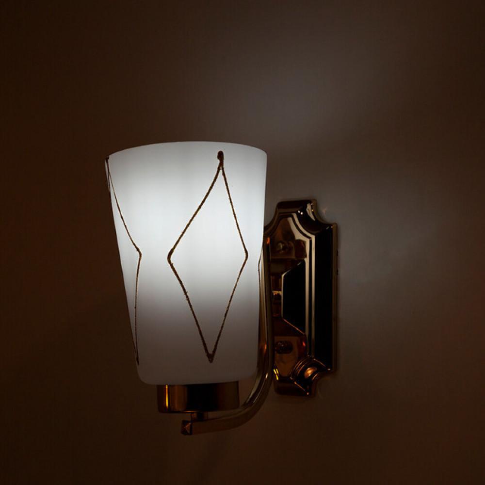 اضاءة حائط ذهبية مع زجاج مثلج - فانوس