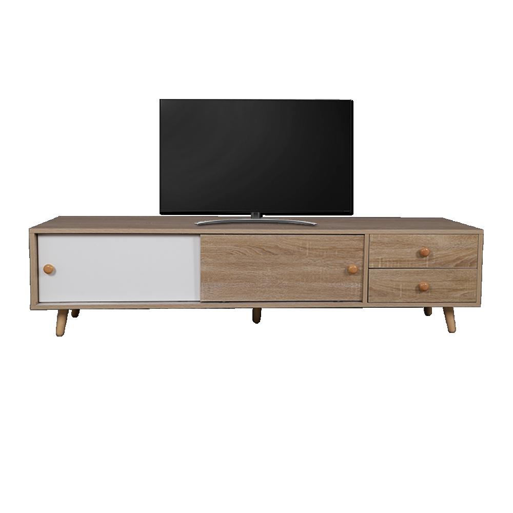 اللونين الأبيض والخشبي طاولة التلفاز الخشبية المميزة موديل سمات مواسم