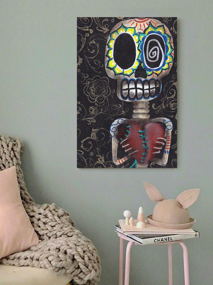 لوحة الهيكل العظمي والقلب خشب ام دي اف مقاس 40x60 سنتيمتر