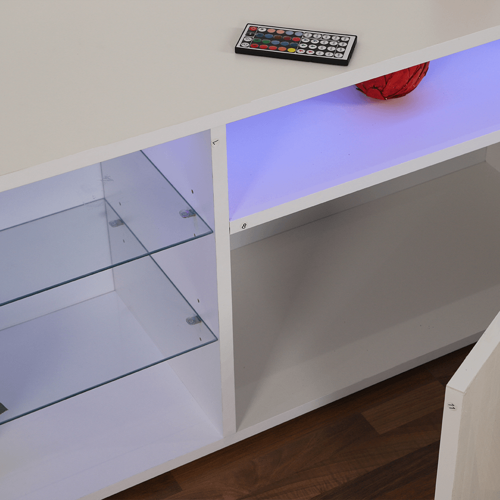الأدراج والرفوف واسعة في طاولة تلفاز برفوف زجاجية NEAT HOME يوتريد