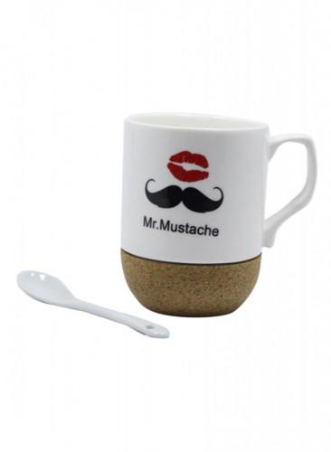 كوب قهوة و شاي من السيراميك بطبعة تحمل عبارة