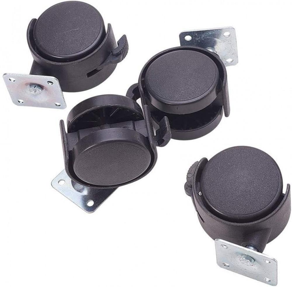 4 قطع عجلات سوداء لكرسي مكتب أثاث أريكة معدات صناعية  قابلة للدورا