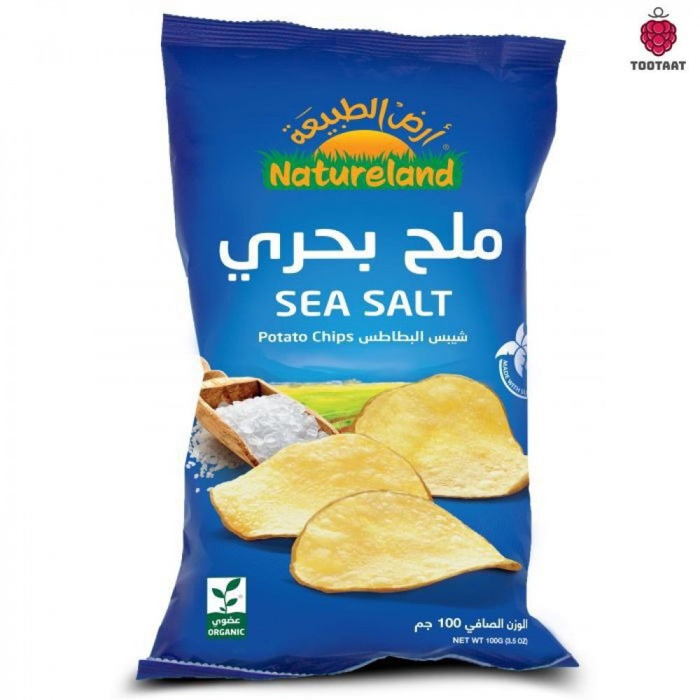 شيبس البطاطس-ملح بحري 100 جم Natureland Sea Salt Chips 100g Tootaat