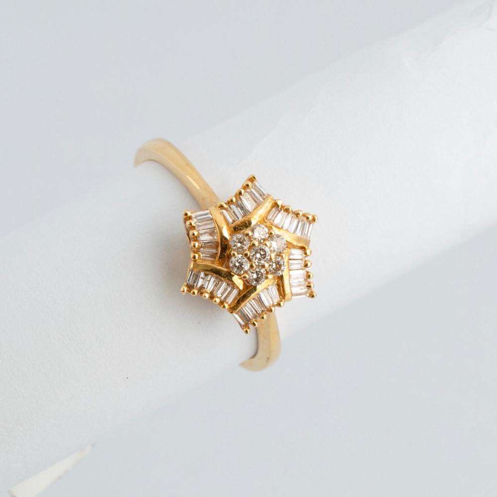 خاتم ذهب أصفر مع الماس باجيت