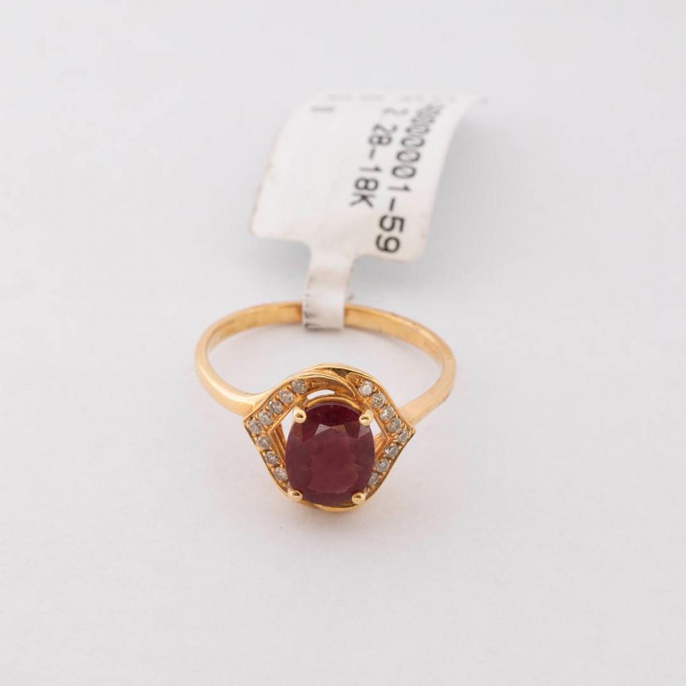 خاتم ذهب أصفر مع الماس وحجر الروبي