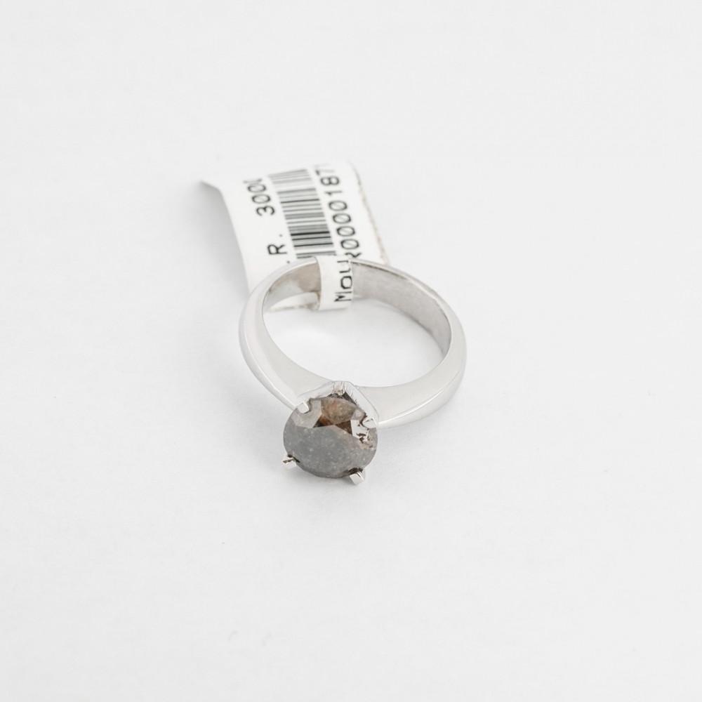 خاتم ذهب أبيض مع حجر كريم