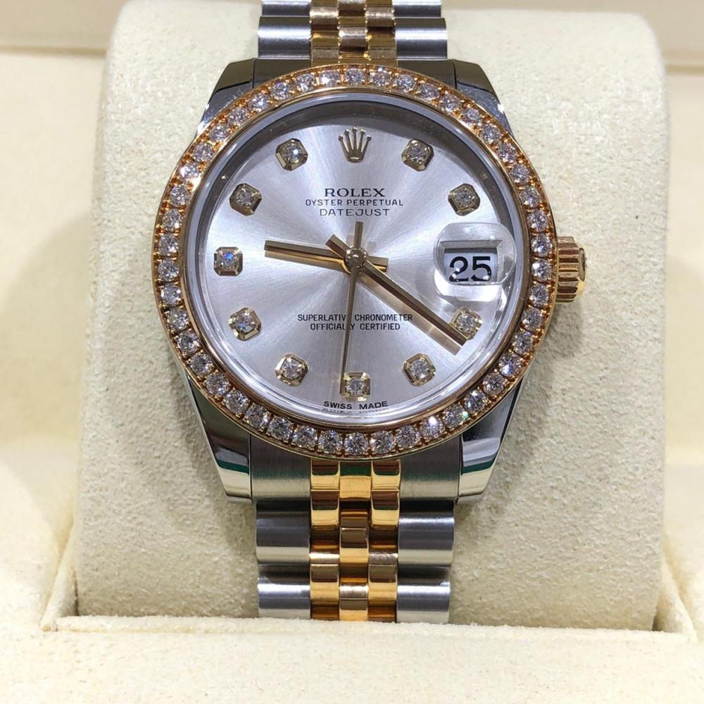 ساعة rolex ديت جست الأصلية الثمينة مستخدمة 178383
