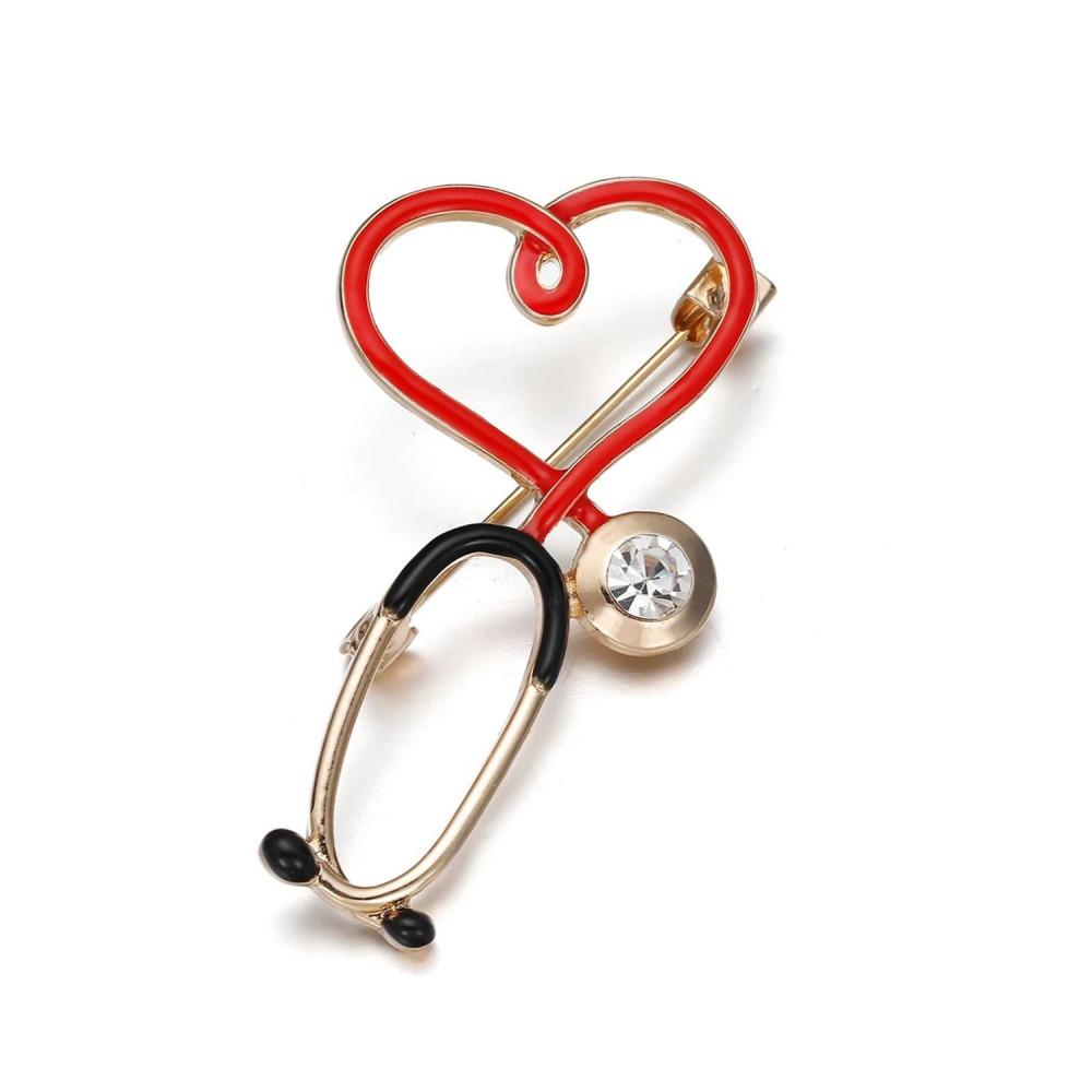 بروش سماعة طبية لون ذهبي اكسسوارات طبية لاب كوت كلية الطب تخطيط قلب