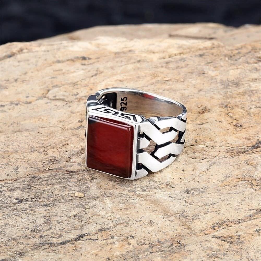 خاتم راقي فضة خالصة بحجر عقيق أنيق