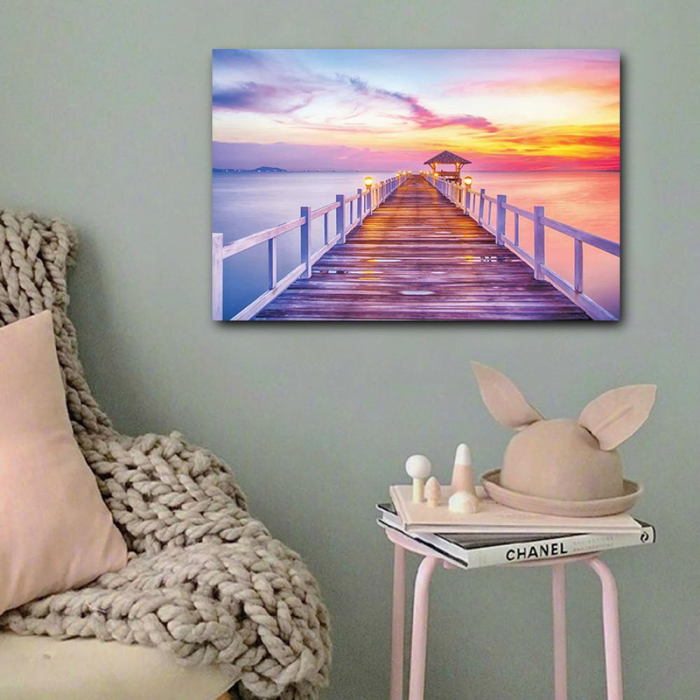 لوحة الرصيف البحري غروب الشمس خشب ام دي اف مقاس 40x60 سنتيمتر