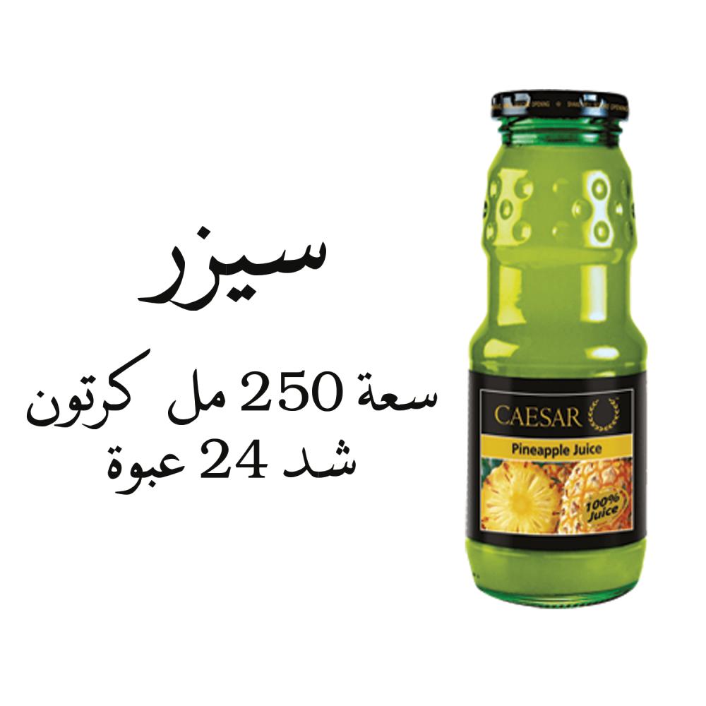 عصير سيزر اناناس سعة 250 مل كرتون شد 24 عبوة بيع الأغذية والمشروبات