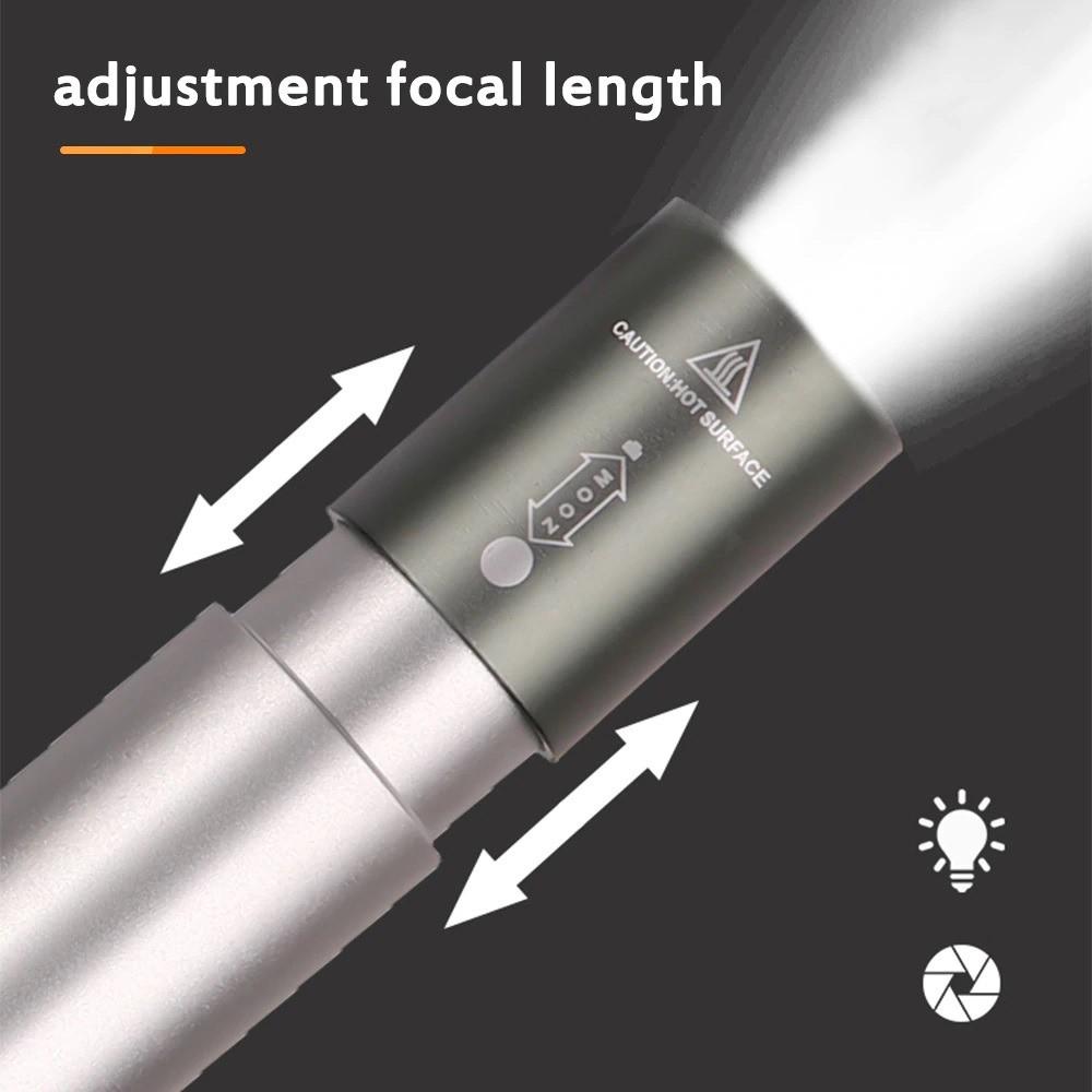 مصباح كشاف ال أي دي يدوي بخاصية التكبير قابل للشحن مع 3 اوضاع للإضاءة