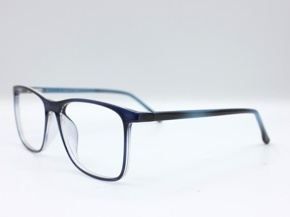 نظارة طبية من ماركة T بتصميم مربع مع عدسات بحماية لون الاطار ازرق