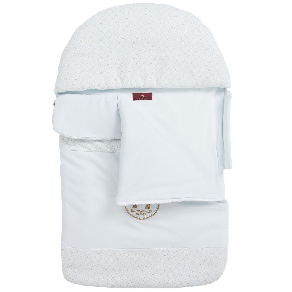 غطاء واقي من البرد لحديثي الولادة باللون السماوي من ماركة  Aigner دوها
