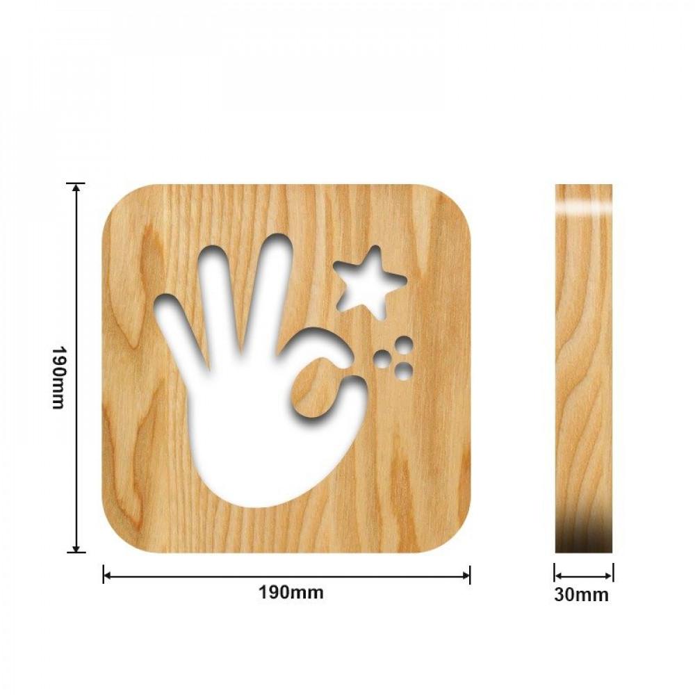 تحفة خشبية مضيئة على شكل أوكي من مواسم القياسات التفصيلية للتحفة