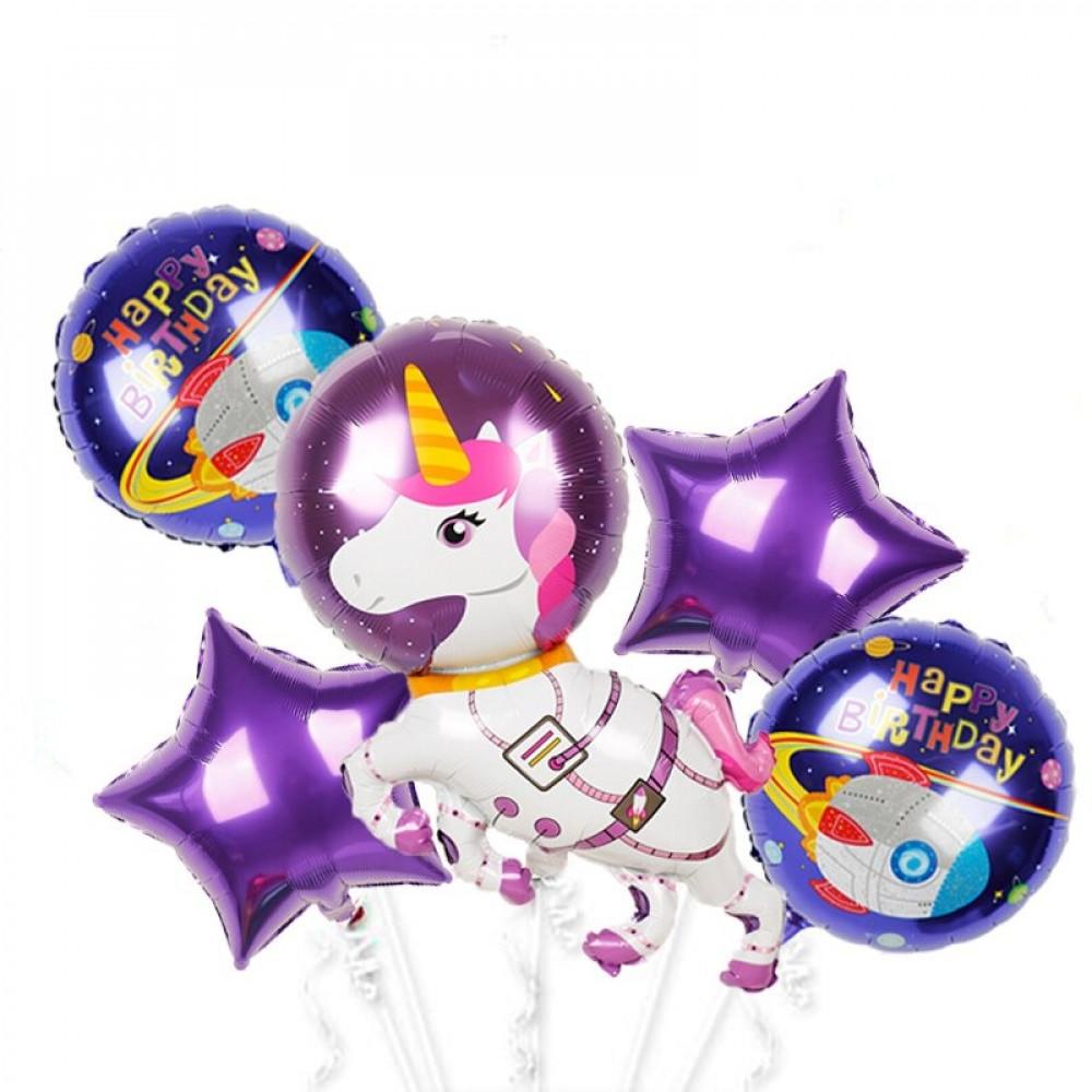بالونات هيليوم ينكورن رائد فضاء  شكل نجمة ديكور حفلة عيد ميلاد الاطفال