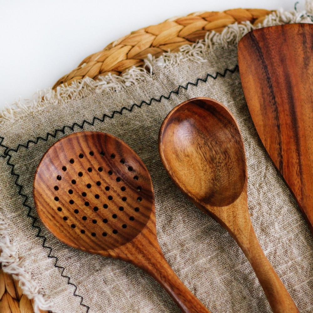 ملعقة مغرفة خشب أدوات مطبخ أواني خشبية متجر أواني منزلية خشب الأكاسيا