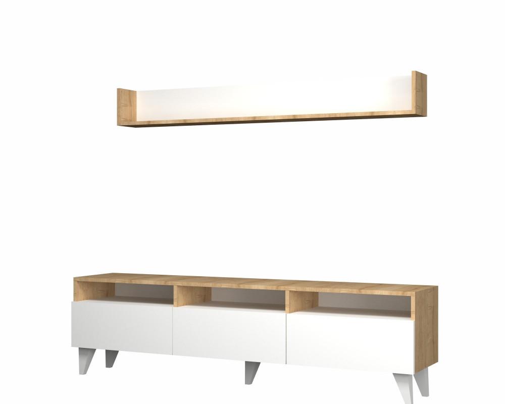 مواسم طاولة تلفاز أنيقه بمساحة للتخزين مكونة من قطعتين لون خشبي و أبيض