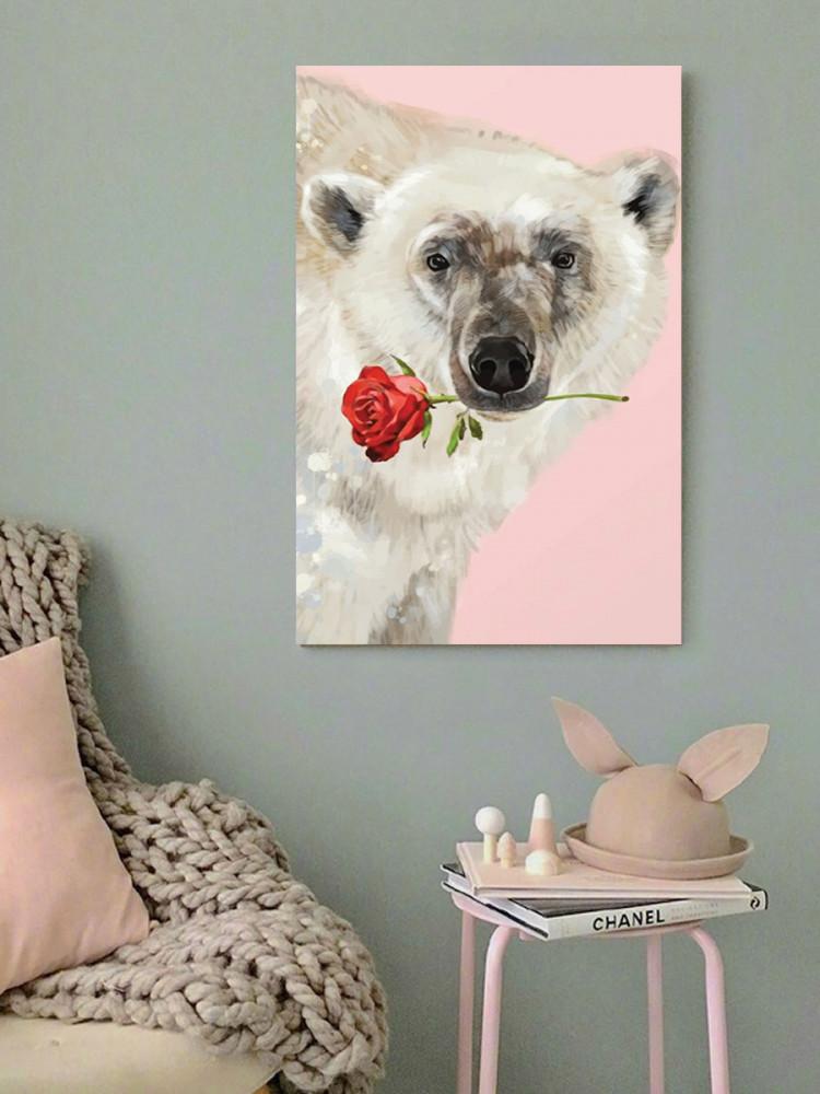 لوحة دب قطبي رومنسي خشب ام دي اف مقاس 40x60 سنتيمتر