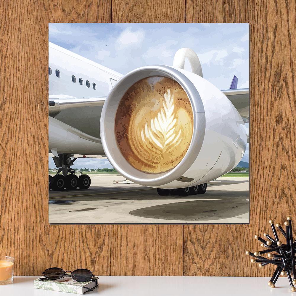 لوحة كأس الكابتشينو خشب ام دي اف مقاس 30x30 سنتيمتر
