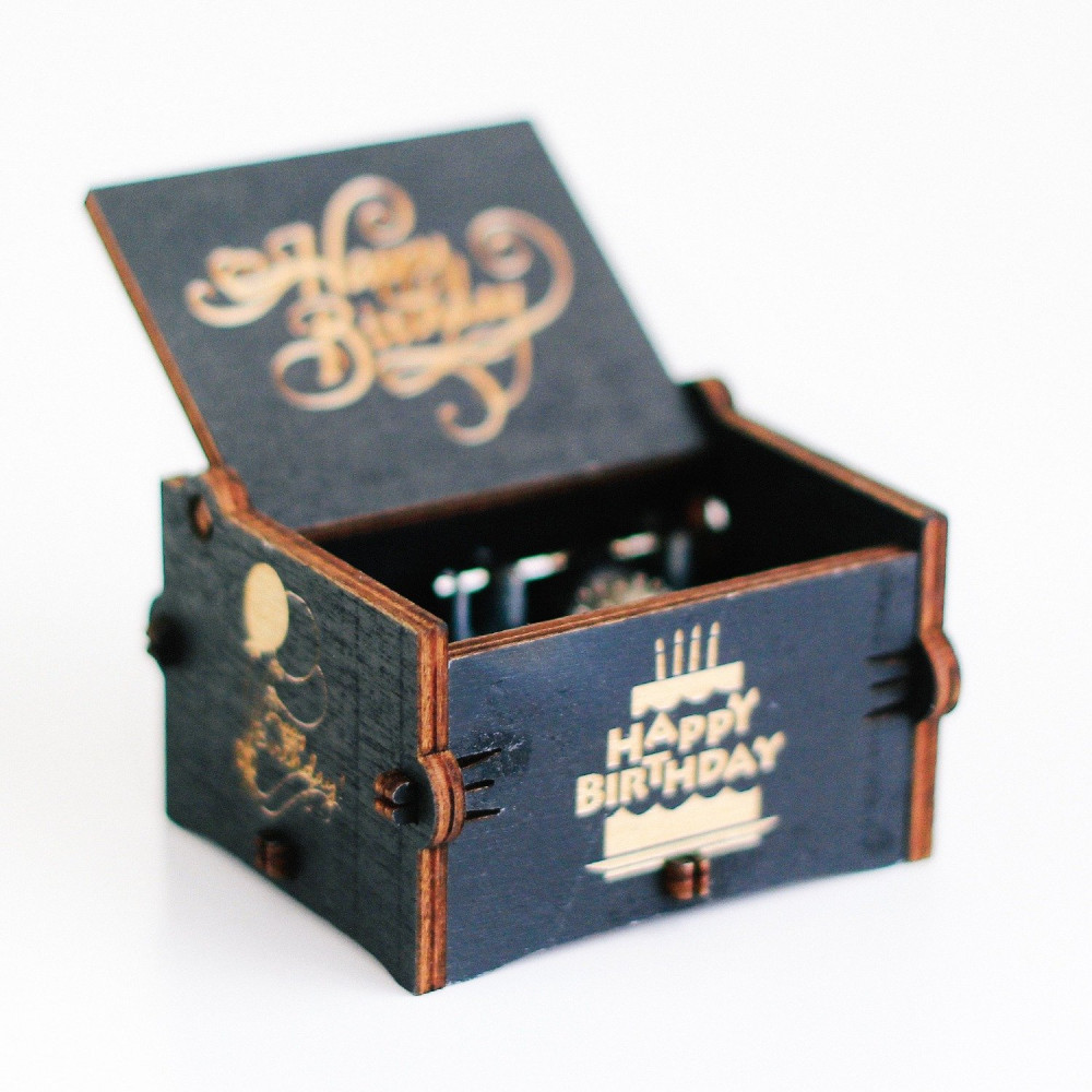 صندوق موسيقى أسود لموسيقى Happy Birthday أفكار هدايا عيد الميلاد متجر