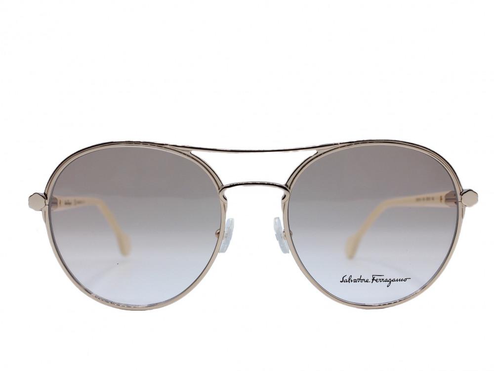 نظاره شمسية دائرية من ماركة  Salvadore ferragamo لون العدسة عسلي مدرج