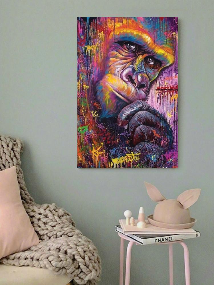 لوحة غوريلا خشب ام دي اف مقاس 40x60 سنتيمتر