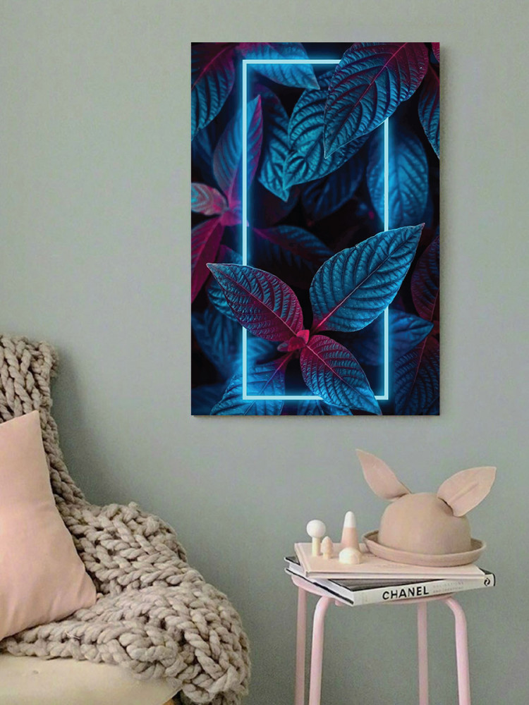 لوحة ورق شجر استوائي نيون خشب ام دي اف مقاس 40x60 سنتيمتر