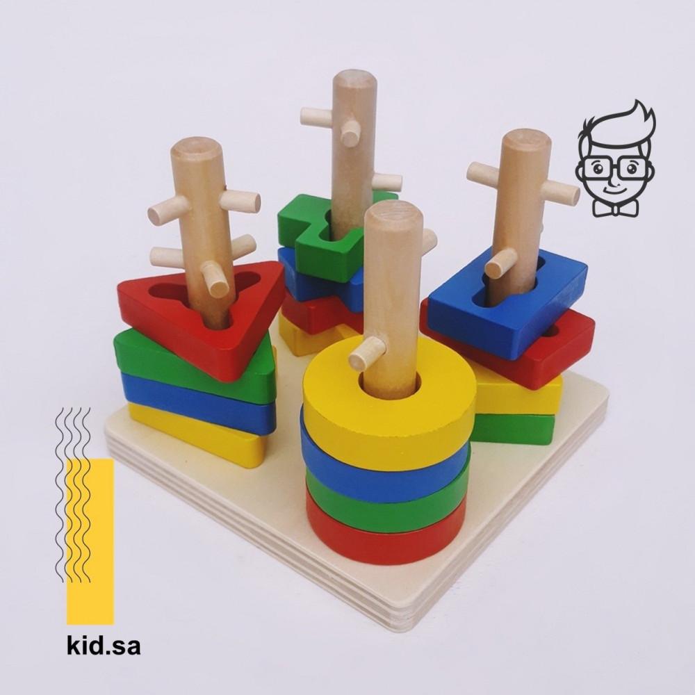 تنمية ذكاء الطفل بواسطة الاعمدة الخشبية و الفرز الصحيح