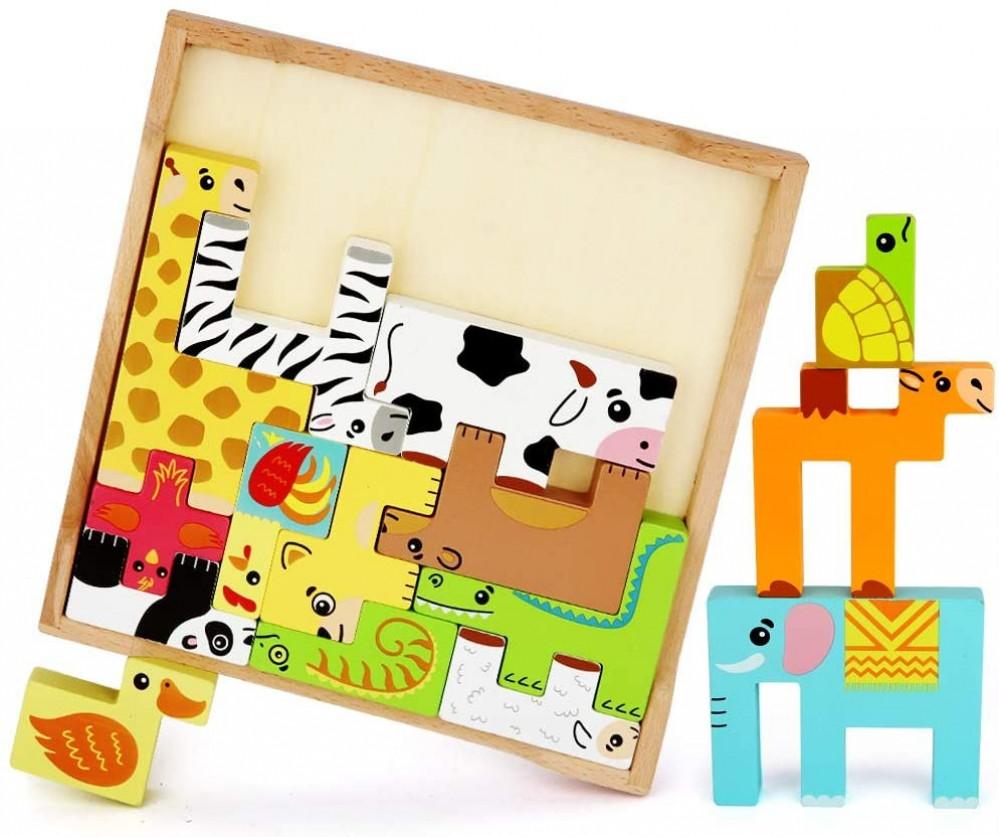 لعبة ذكاء تركيب الحيوانات الخشبية