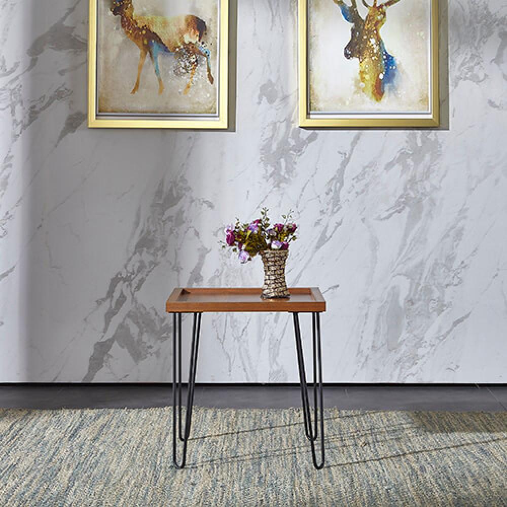 طاولة جانبية موديل كاري خشب MDF وسطح مقاوم للخدش ذات أرجل بتصميم عصري