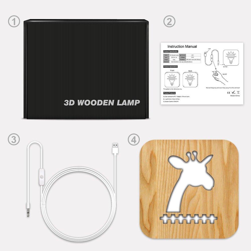 مواسم تحفة فنية خشبية على شكل زرافة توضح كيفية الإضاءة وتركيب التحفة