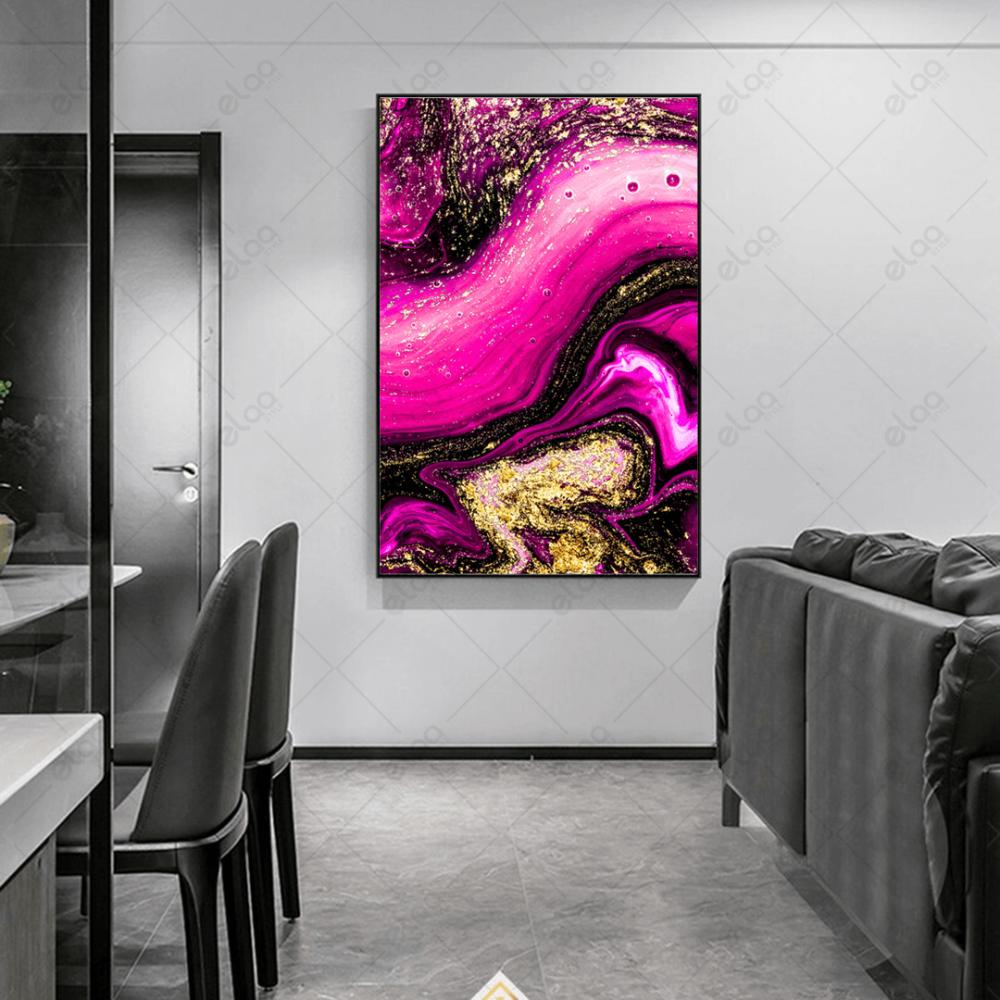 لوحة فن تجريدي باللون الذهبي ودرجات اللون الزهري الفسفوري